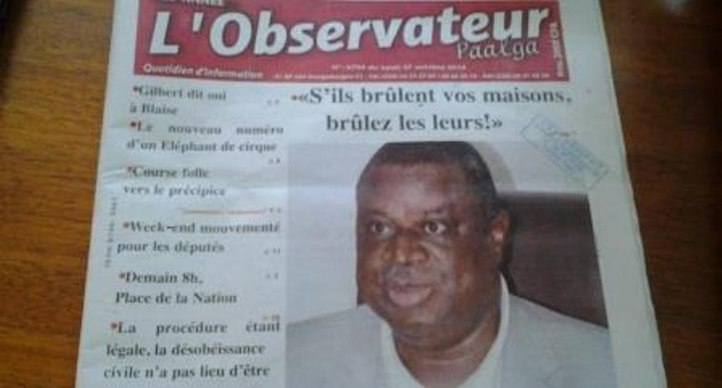 Assimi Kouanda appelle à la violence dans L'Observateur Paalga